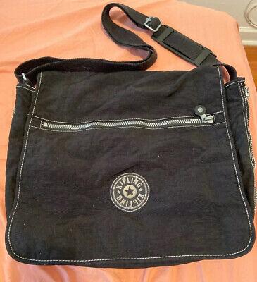 Kipling Black Messenger bag expandable laptop handbag flap adjustable strap