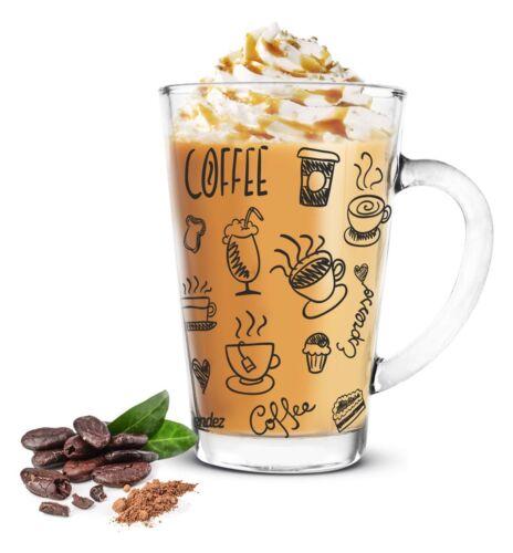 6 Latte Macchiato Gläser 300ml Kaffeegläser Teeglas schwarzer Aufdruck
