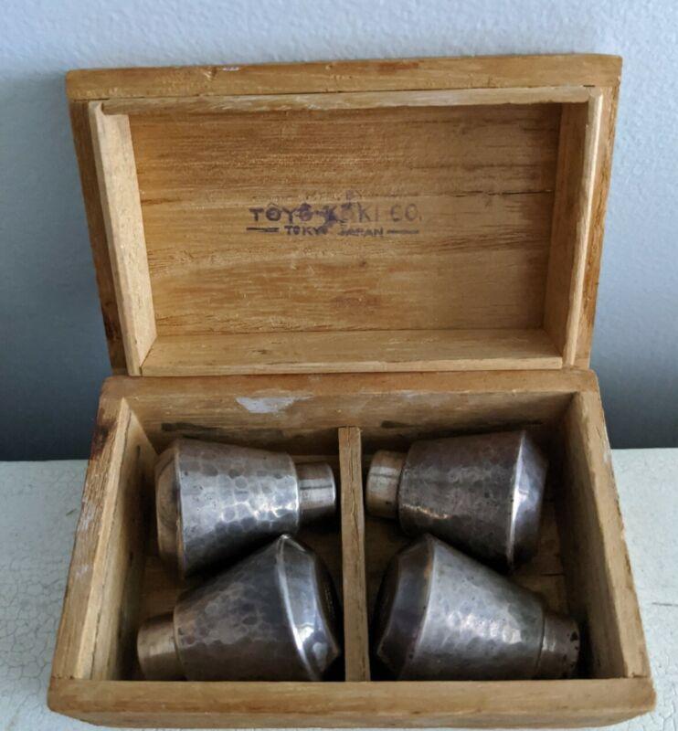 Vtg. Japanese Toyokoki .990 Silver Hammered Salt Pepper Shakers in Orig Wood Box