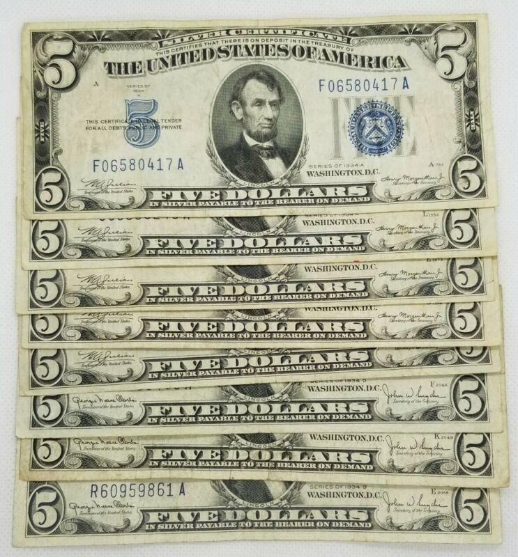 1934 Five Dollar $5 Blue Seal Silver Certificate Old US Bill Average Circ