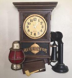 RARE Vintage Retro Burwood Regulator 3d WORKING clock plastic wall plaque 1235