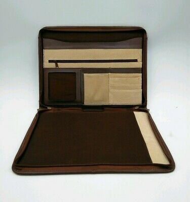 Monarch Luggage Co. Leather Pad Folio Organizer Brown Buisness Planner Padfolio