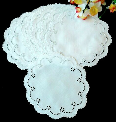 "Set: 9 Antique White Linen SWISS Hand-Embroidered Eyelet Dessert Doilies 8"""