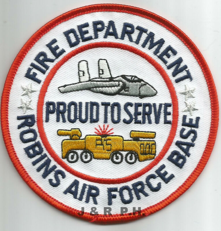 """Robins  A.F.B., Georgia  """"Proud to Serve""""   (4"""" round size)  fire patch"""
