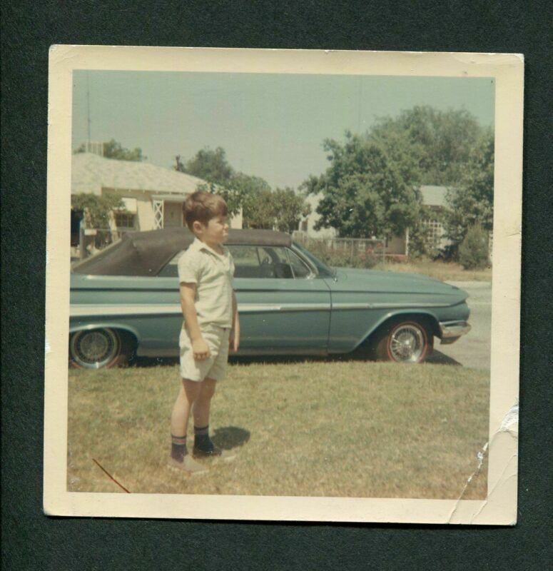 Vintage Color Photo Boy w/ 1961 Chevrolet Chevy Impala Convertible Car 406066