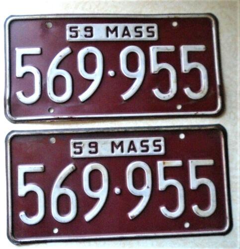 1959 Massachusetts Vehicle License Plates (Pair), Very Nice, Original Paint
