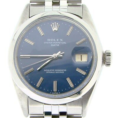 Rolex Date Mens Stainless Steel Watch Jubilee Style Band Blue Dial Domed 1500