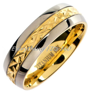 18K Gold Plated **Grade 5** Titanium Wedding Ring Band Comfort Fit Sizes 4 - 16