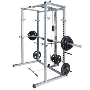 Merax Fitness Power Rack w/Lat Pull Attachment Weight Holder Exercise Squat Cage
