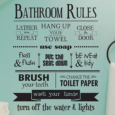 BATHROOM RULES Removable Home Wall Decal Vinyl Quote Stickers Decor Art Mural