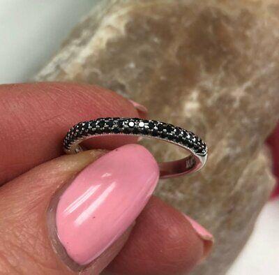 1.10Ct Round Cut Black Diamond Half Eternity Wedding Band 14K White Gold Finish ()