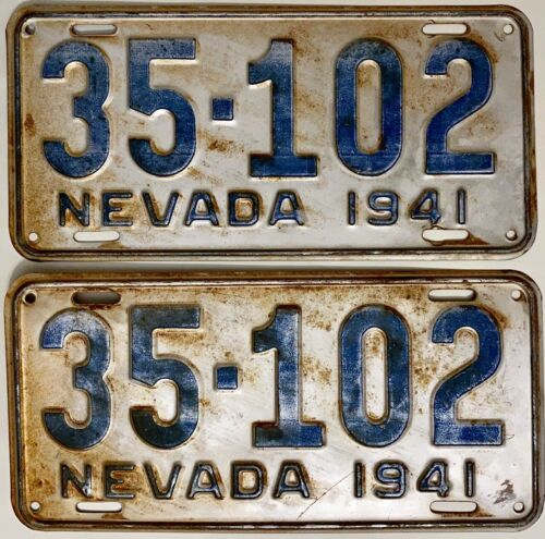1941 NEVADA License Plate PAIR #35-102