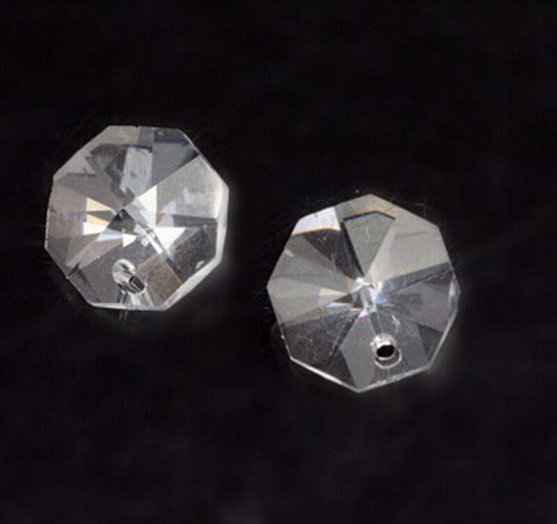 50PCS Crystal Octagon A-Grade 14mm 1 Hole Clear Machine Cut For Suncatcher Lamp
