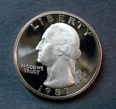 1987-S GEM PROOF UNCIRCULATED WASHINGTON QUARTER CLEAN MIRROR FINISH DEEP CAMEO
