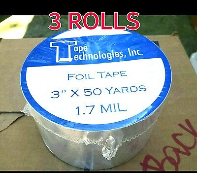 3 Rolls Hvac Tape Technologies Aluminum Foil Tape 3 X 1.7 Mil X 150 Ft Each