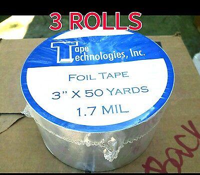 3 Rolls Hvac Tape Technologies Aluminum Foil Tape 3 X 1.7 Mil X 150 Ft Each