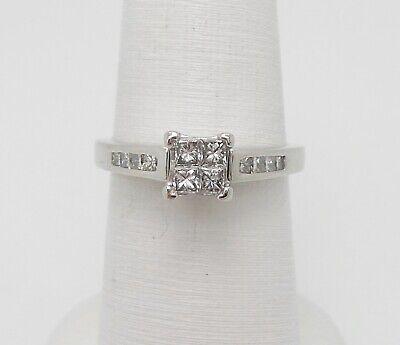 ZALES 1/2CT PRINCESS DIAMOND SOLITAIRE ENGAGEMENT WEDDING RING 14K WHITE GOLD