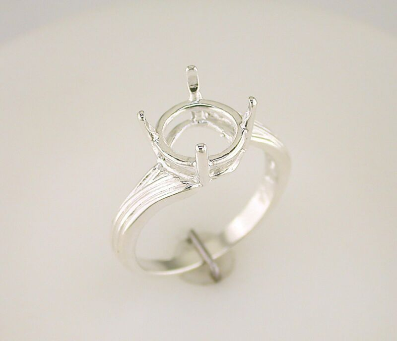 Round Fancy Offset Solitaire Ring Setting Sterling Silver