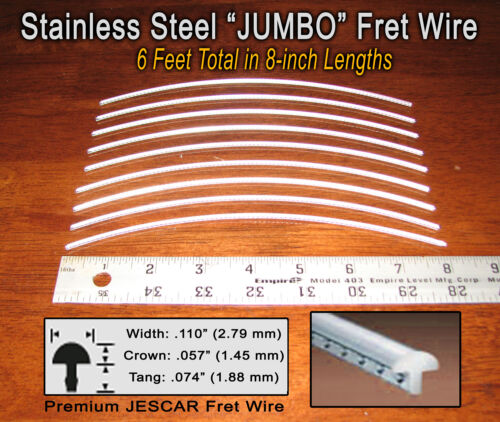 6ft Jescar JUMBO STAINLESS STEEL Frets/Fret Wire for Guitar, Bass & More!