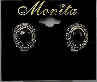 New Monita Faux Onyx Pierced Earrings in Gold and Silver Tone Oval