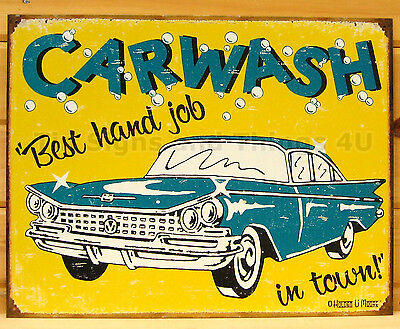 Car Wash Best Hand Job FUNNY TIN SIGN garage bar vintage retro wall decor (Best Hand Wash Car Wash)