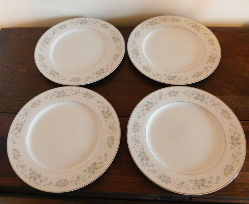 "4 Dinner Plate (s) 10-1/2""  CARLTON CORSAGE 481 JAPAN Pink, Blue, White Flowers"