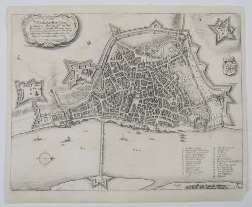 Mainz: antique city plan by Matthaus Merian, c1640