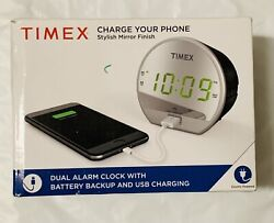 Timex T1212B Dual Alarm Clock with USB Charging And Battery Backup !