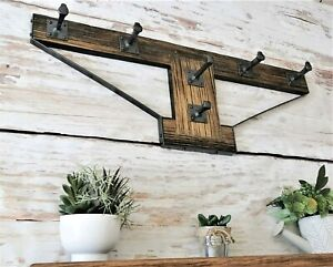 Rustic reclaimed timber wall rack