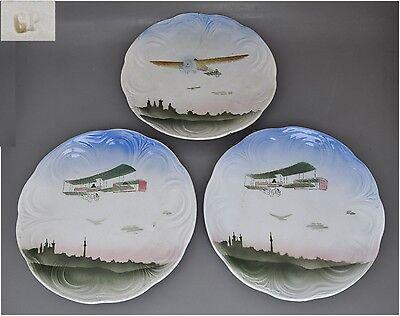 Luftfahrt - 3 antike Teller mit Flugzeug-Dekor
