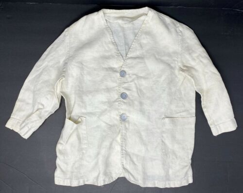 Vintage Off White Linen Boys Or Girls Blazer Jacket