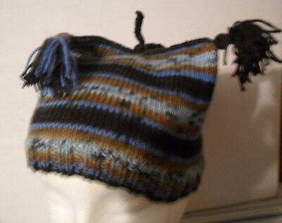 Handmade Knitted Tri-Cornered Children Hat With Tassels Unisex Toddler