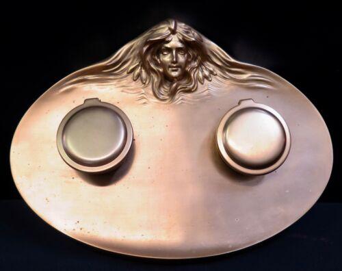 Vintage Period Art Nouveau Bronze Inkwell