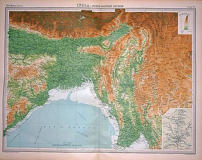 1920 LARGE MAP ~ INDIA ~ NORTH-EASTERN SECTION ~ ENVIRONS CALCUTTA ~ 23