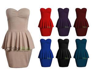 Womens-Ladies-Boobtube-Padded-Gather-Frill-Shift-Peplum-Bodycon-Skirt-Dress-8-14