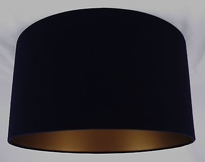 19 Lampshade Handmade In Uk - Black Linen With A Gold Lining