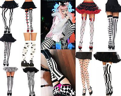 ALICE IN WONDERLAND QUEEN OF HEARTS MAD HATTER COSTUME HOLD UP STOCKINGS TIGHTS ()