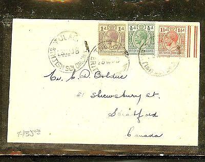 BRITISH SOLOMON ISLANDS (P2909B) 1926 KGV 1D+1/2D+1 1/2D TO CANADA