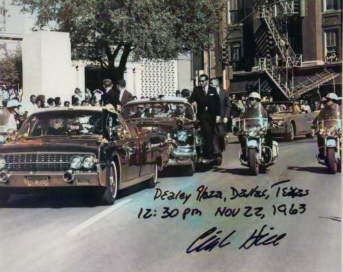 RARE COLOR JFK MOTORCADE IN DALLAS  THE LAST DAY SIGNED BY CLINT HILL 22 NOV.63