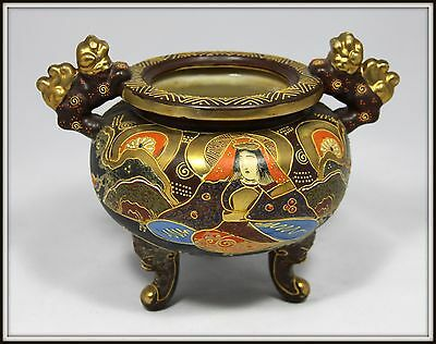 """Japanese Satsuma Urn with Foo Dog Handles"" Gilded & Signed"