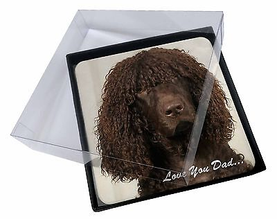 4x Irish Water Spaniel 'Love You Dad' Picture Table Coasters Set in Gif, DAD-59C