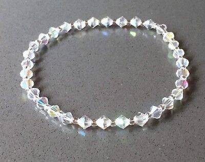 "Swarovski Elements 6 mm Crystal AB Stretch Ankle Bracelet - 10"""