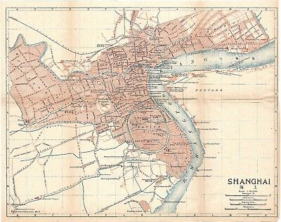 Original antique 1915 very rare map of Shanghai China