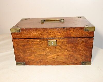 high quality antique handmade wood brass cigar tobacco humidor holder box case