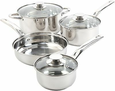 7 Piece Stainless Steel Cookware Set Non Stick Cooking Pots