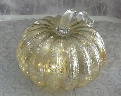 """Glass Home Decor Pumpkin, 8.5"""" Battery Operated Lighted Silver"""