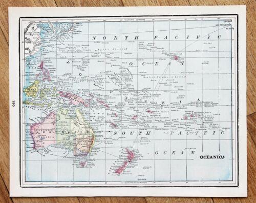 1886 Oceanica Map Australia Hawaii Sandwich Isles Philippines Borneo ORIGINAL