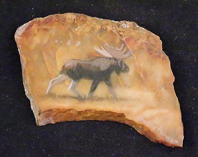 Hand Painted Agate Stone Bull Moose Wildlife Painted on Agate Stone signed Hand Painted Moose