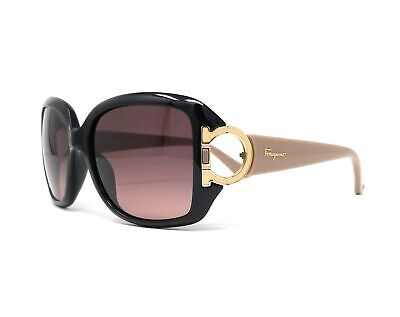 Salvatore Ferragamo Sunglasses SF666S 001 Black Rectangular Women (Ferragamo Sunglasses Womens)