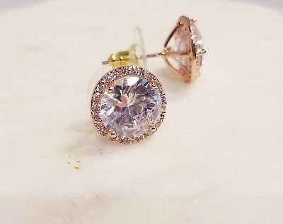 ROSE GOLD PLATED 3.5 CT 10MM EACH ROUND CZ MARTINI SET SOLITAIRE HALO EARRINGS